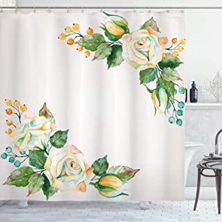 Ambesonne Floral Shower Curtain by, Rose Flower Bouquets Romantic Fragrance Petals Vintage Essence Artsy Print, Fabric Bathroom Decor Set with Hooks, 75 Inches Long, Fern Green Marigold