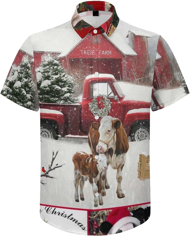 Hawaiian Shirts for Men Cow Merry Christmas Printed Beach Shirt Hawaiian Shirts