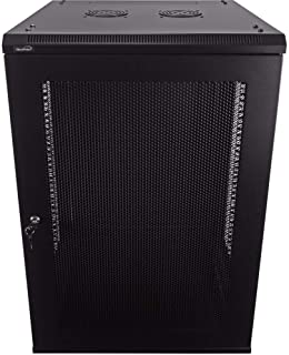 NavePoint 18U Deluxe IT Wallmount Cabinet Enclosure 19-Inch Server Network Rack with Locking Perforated Door 24-Inches Dee...