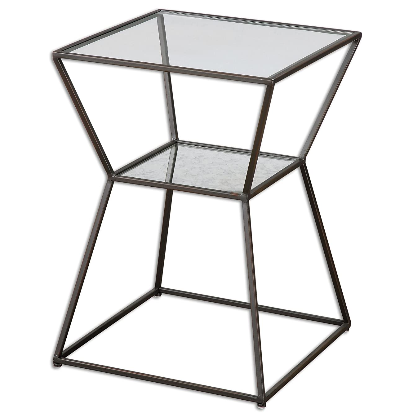 Modern Geometric Black Iron Accent End Table Clear Glass Top