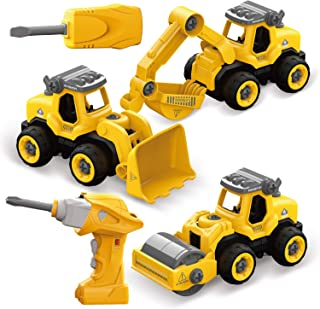 FUN LITTLE TOYS DIY Electric RC Truck Car 3 in 1, Take Apart Construction Vehicles for Kids Gifts, Educational Toys for Kids