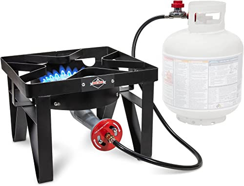 discount Hike Crew Cast outlet online sale Iron Single-Burner Outdoor Gas Stove | online sale 220,000 BTU Portable Propane-Powered Cooktop | with Blue Flame Air Control Panel, Hose with Adjustable 0-20 PSI Regulator online sale