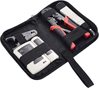 Matgo Ethernet Tool Kit 5 Piece Network Ratcheting Crimper Tool, LAN Cable Tester, Punch Down Tool, Wire Stripping Pliers, Zipper Tool Bag for Cat5E Cat6 RJ45 RJ11 RJ12