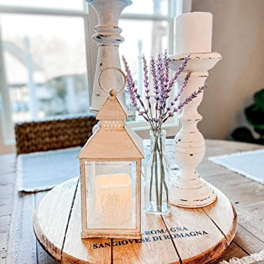 Winter Candle Lantern Set - 9 Inch Decorative Lanterns with LED Flameless Candles, White Distressed Finish, Battery Operated,