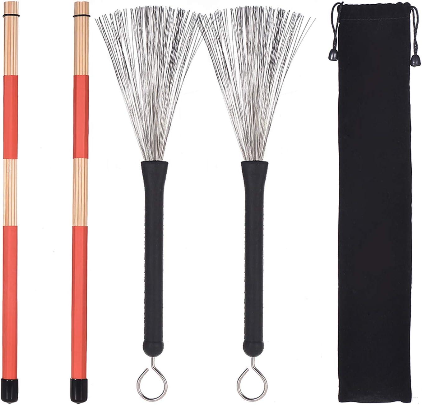 Popular brand 1 Max 88% OFF Pair Drum Rods Sticks wit Set Brushes Stick +