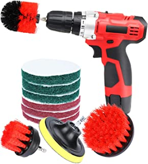 YOOMALL Cleaning Supplies Drill Brushes Bathroom Kitchen Accessories Scouring Pad for Tile Bathtub Sink Shower Door Grout Cleaner Outdoor Scrub Brushes Set 9 PCS