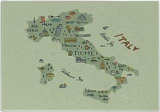 Lunarable Italy Cutting Board, Italian Map with