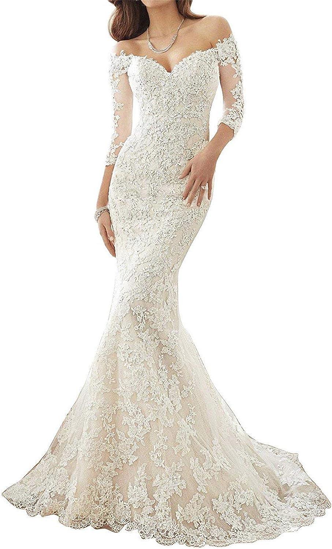 JoyVany Women Lace Mermaid Wedding Dress 2018 Long Sleeves Sweep Train Wedding Gowns JV710