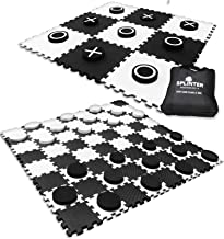 Splinter Woodworking Co. 2-in-1 Giant Checkers & Tic Tac Toe Game   4ft x 4ft   100% High Density EVA Foam Mat & Pieces   Extra Large Checker Discs with Jumbo Checkerboard & Yard Size Tic Tac Toss Set