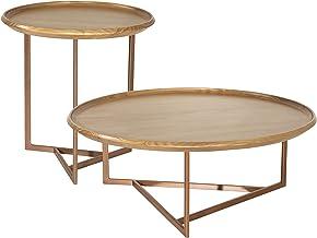 Manhattan Comfort Knickerbocker Modern Living Room Geometric Base Coffee and End Table Set, Cinnamon