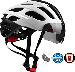 Shinmax Bike Helmet, Bicycle Helmet CPSC&CE Certified with USB Rechargeable Light&Magnetic Goggles&Reflective Sticker Adjustable for Men/Women Mountain/Road Cycling Helmet BC-049 Bonus - Carrying Bag