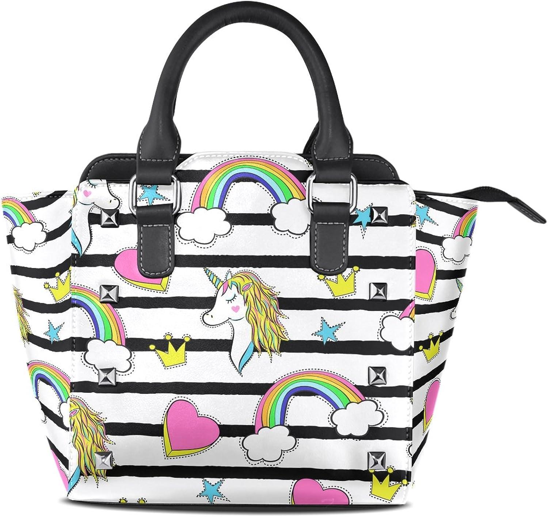 My Little Nest Women's Top Handle Satchel Handbag Trendy Cartoon Unicorns Rainbows Hearts Ladies PU Leather Shoulder Bag Crossbody Bag