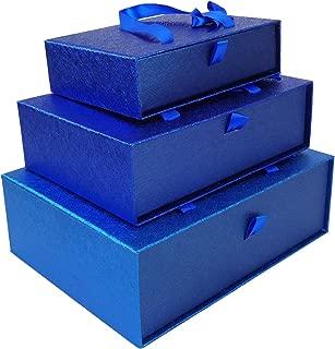 Emartbuy Conjunto de 3 Rígido Lujo Rectángulo Presentación de Caja de Regalo, Caja Azul Marino Metalizada Con Interior a Cuadros, Lazo de Satén y Llevar la Manija