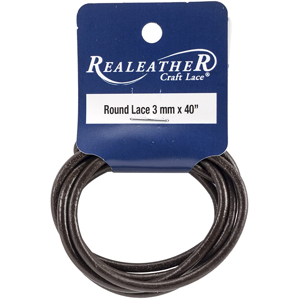 Realeather Crafts Round Leather Packaged Lace, 3mm by 40