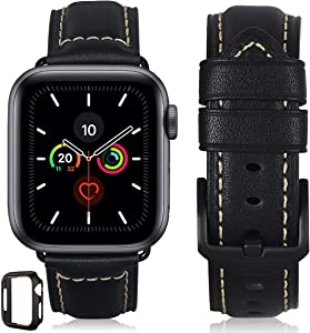 Compatible for Apple Watch Band 42mm 44mm 38mm 40mm Men,Top Grain Leather Band Replacement Strap iWatch Series 6/5/ 4/3/ 2/1,SE,Sport, Edition. New Retro Leather (Black+Black Buckle, 42mm44mm)