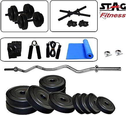 Stag 3 Ft Curl Rod with Yoga Mat Home Gym Set (8kg / 12 kg / 16kg / 20kg)