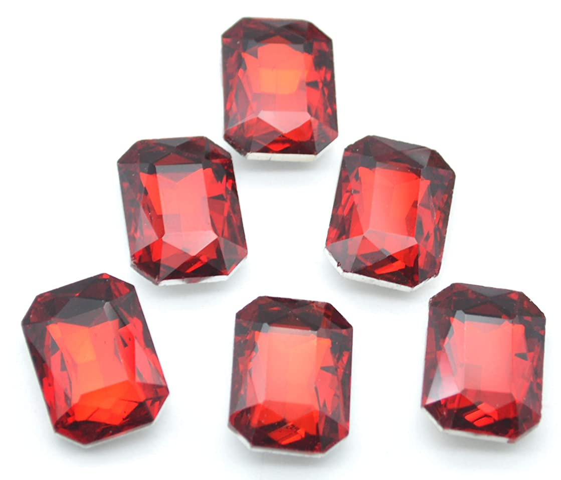 Catotrem Glass Diamante Faceted Octagon Rectangle Rhinestone Pointback Stone for Arts Crafts 13X18mm 50Pcs(Red)