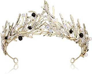 Coucoland Women's Bridal Wedding Queen Crowns and Tiaras Vintage Crystal Rhinestones Pageant Crown Headband (Bronze)