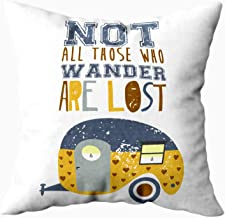 EMMTEEY Happy Camper Throw Pillow Cover, 16x16 Inch Pillow Covers Home Throw Pillow Covers for Sofa Vector Illustration Camper Caravan with Text Not All Those Who Wander are Lost Square Double Si