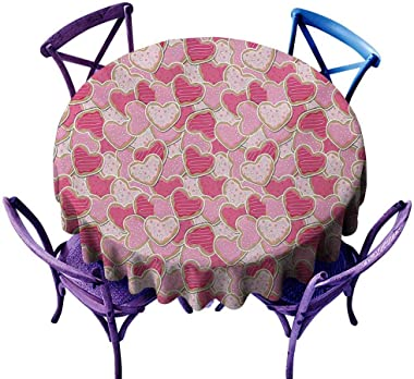 UETECH Modern Round Tablecloth Valentines Heart Shaped Cookies Surprise Tasty Goodies for Valentines Day Magenta Pale Pink Pa