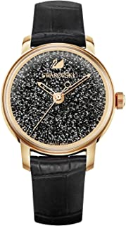 Crystal Authentic Crystalline Hours Watch, Leather Strap, Black, Rose Gold Tone - Elegant Swiss Made Timepiece - Women's Everyday Jewelry and Fashion Accessory Studded with Crystals