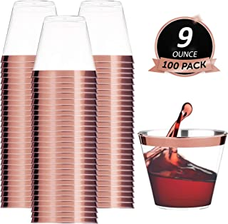 100 Rose Gold Rimmed Plastic Cups | 9 oz Disposable Wine Cups | Plastic Wine Cups | Plastic Cocktail Tumblers | Gold Plastic Cups For Parties Holiday Wedding and Occasions | Clear Bulk Party Cups