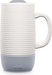 Ello Jane Ceramic Travel Mug with Spill-Resistant Slider Lid, 18 oz, Grey