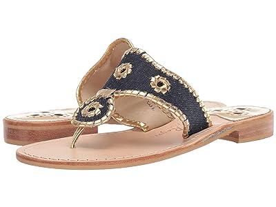 Jack Rogers Denim Jacks Flat Sandal (Denim/Gold) Women