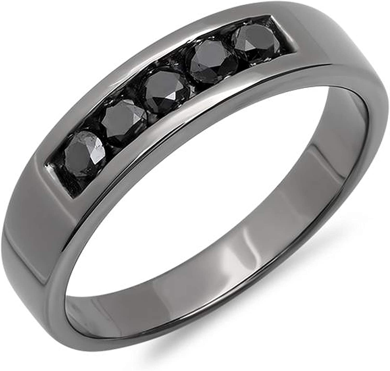 Dazzlingrock Collection 10kt White Gold Mens Round Black Color Enhanced Diamond Gunmetal Wedding Band Ring 5/8 ctw