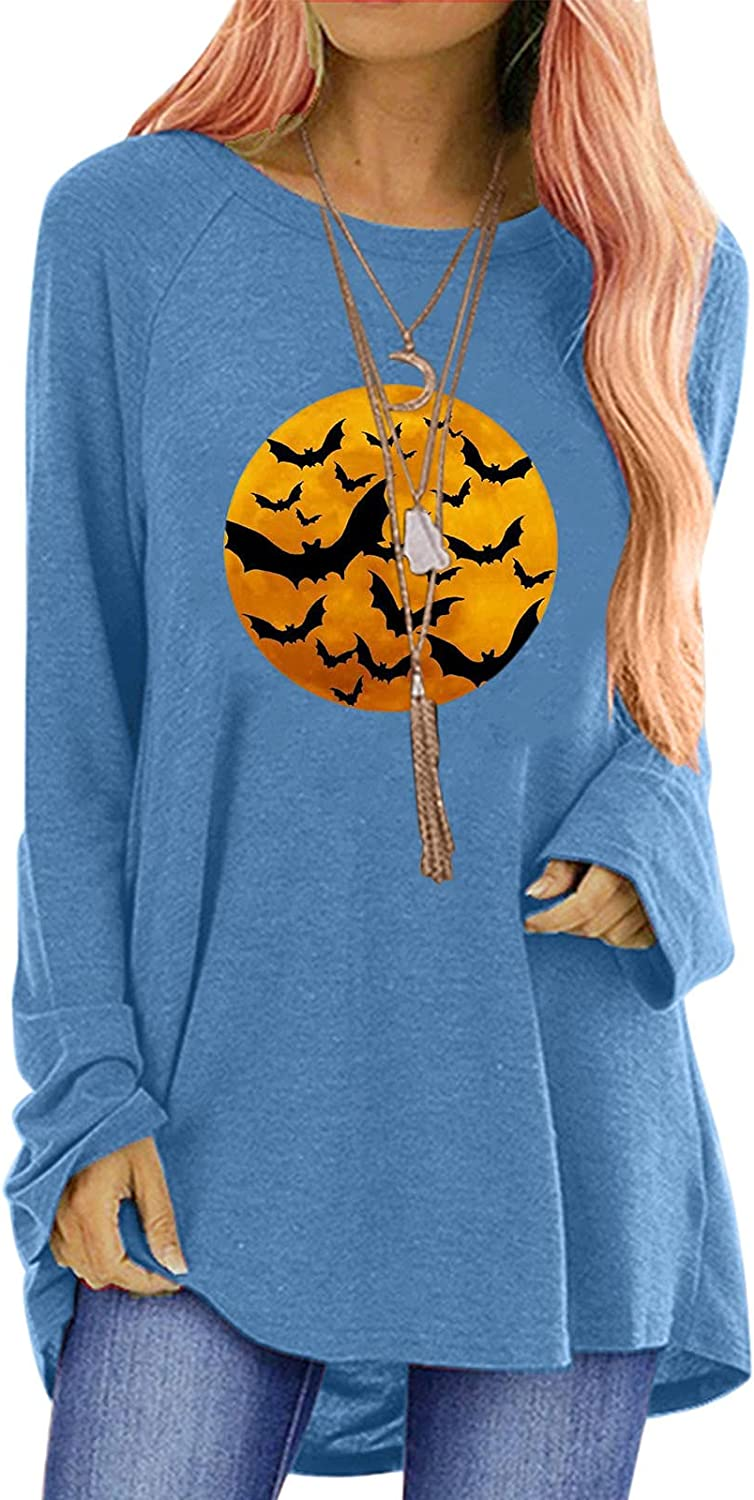 Womens Casual Long Sleeve Tops Halloween Grimace Printing Round Neck Blouse Loose Comfy Sweatshirts Pullover