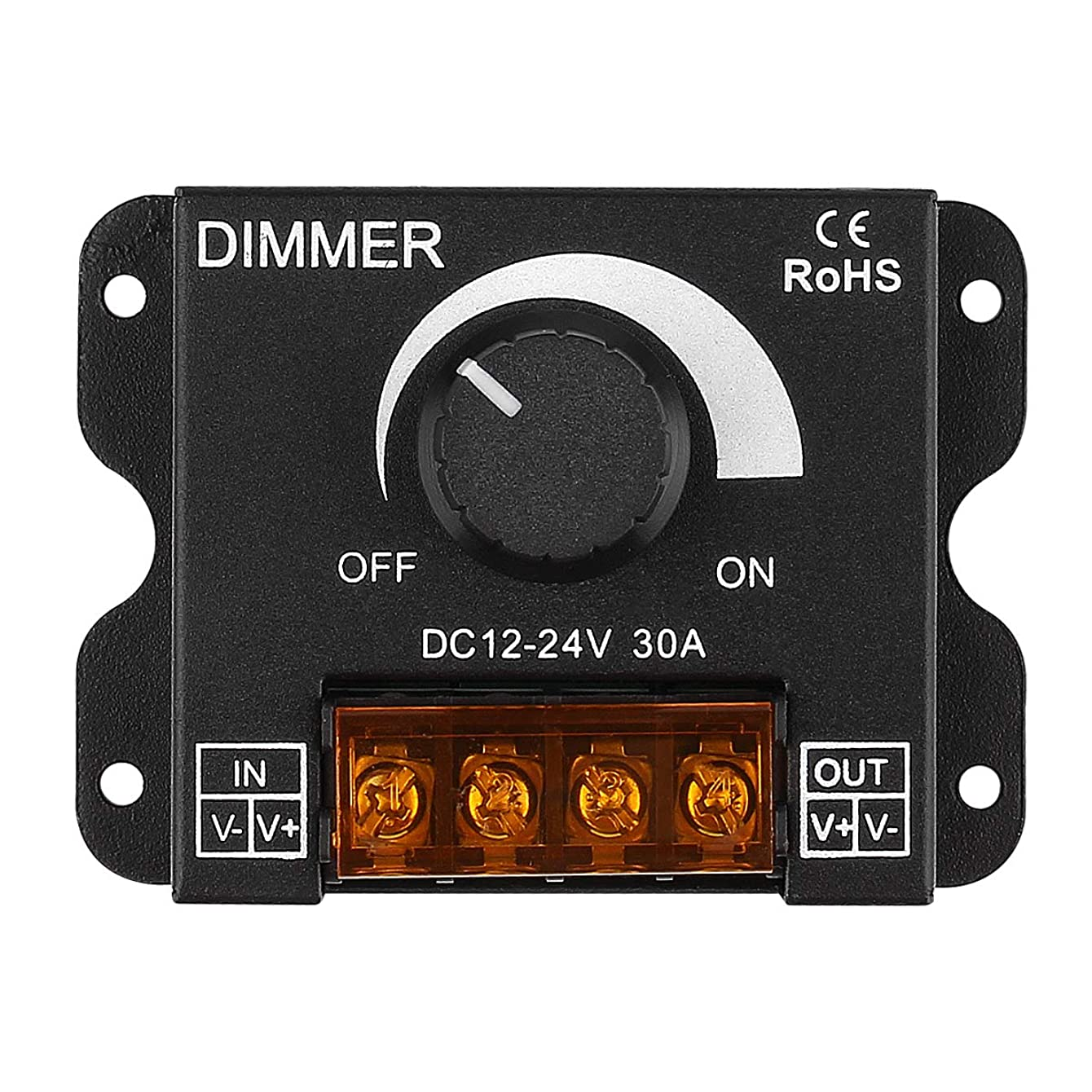 SUPERNIGHT LED Light Strip Dimmer, DC 12V-24V 30A PWM Dimming Controller for Dimmer Knob Adjust Brightness ON/Off Switch with Aluminum Housing