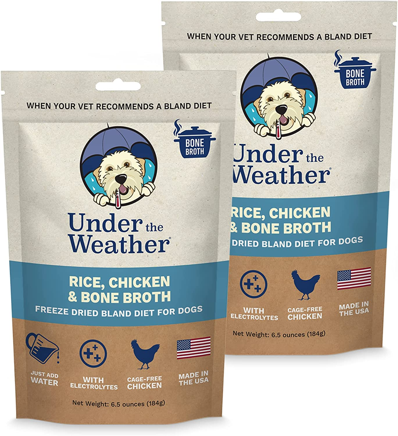 Under the Weather Pets | Rice, Chicken & Bone Broth | Easy to Digest Bland Dog Food Diet - Contains Electrolytes - Gluten Free, All Natural, Freeze Dried 100% Human Grade - 2 Pack