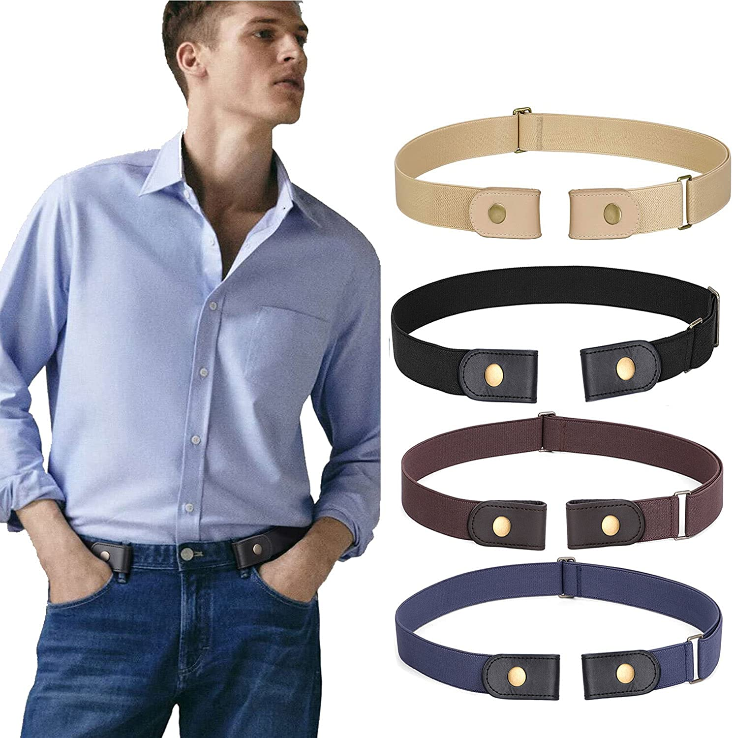 WERFORU 4 Pack Men No Buckle Show Belt Buckle Free Stretch Belt for Jeans Pants 1.38 Inches Wide