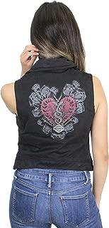 HARLEY-DAVIDSON Womens Hearts & Serpents Front Zip Black Vest 97495-19VW