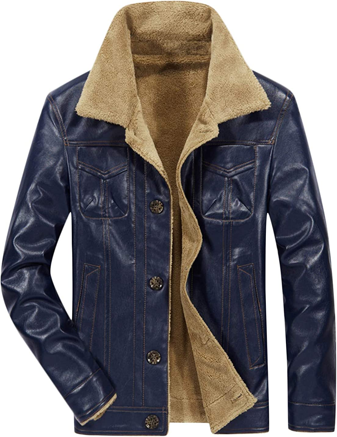 Springrain Men's PU Leather Turn Down Collar Button Front Pockets Jacket Classic Woolen Thicken Comfy Coat
