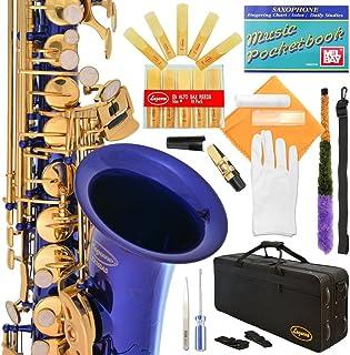 کلیدهای نیکل-طلای سیاه با کیف ، 11 عدد قلم ، کیت مراقبت و موارد اضافی Lazarro 360-BN E-Flat Eb Alto Saxophone