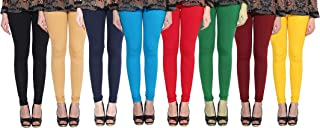 DESIGNESTY Women's Cotton Lycra 4 Way Stretchable Churidar Leggings For Women Multi Color Fit to Waist Size_Upto 34 inches...
