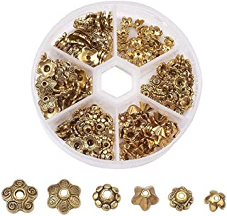 Pandahall About 180pcs 6 Styles Antique Gold Tibetan Alloy Flower Bead Caps for Jewelry Making, Antique Golden