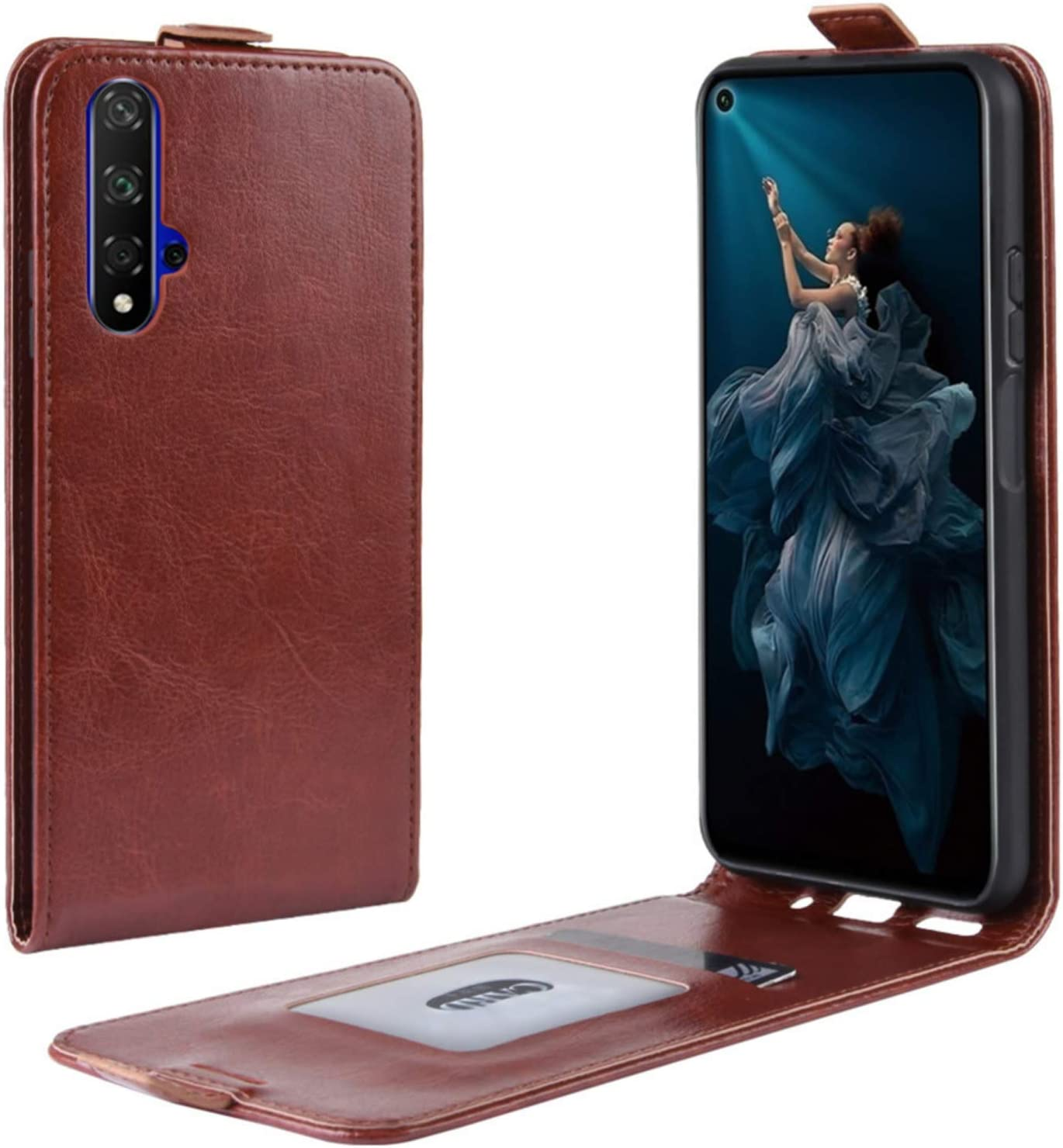 HualuBro Huawei Nova 5T Case, Premium PU Leather Wallet Flip Folio Shockproof Book Phone Case Cover with [Card Slots] [Magnetic Closure] for Huawei Nova 5T 2019 (Brown)