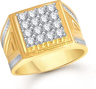 MEENAZ Jewellery Valentine Birthday Gifts Styish Gold Plated Jewellery Ring for Men - FR457 Size 22(Gold & White)