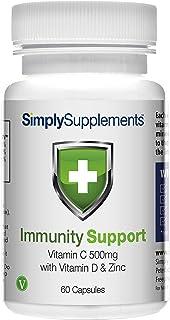 Refuerzo Inmunitario Vitamina C. Vitamina D & Zinc ¡Bote para 2 meses! Apto para veganos - SimplySupplements