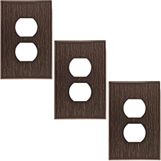 Questech Twill Textured Metal Composite Switch Plate Wall Plate Outlet Cover (Single Duplex - 3 Pack, Oil Rubbed Bronze)