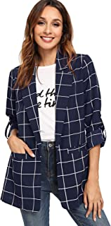 Milumia Women's Open Front Blazer Casual Plaid Roll Up Sleeve Jacket with Pocket
