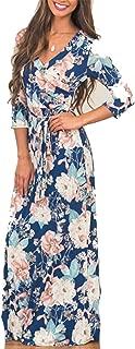 Cyose Fashion Summer Women Dress V-Neck Printing Beach Dress Vintage Longue