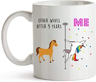YouNique Designs 9 Year Anniversary Coffee Mug for Her, 11 Ounces, Unicorn Mug, 9th Wedding Anniversary Cup for Wife, Nine...