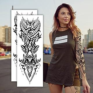2 Sheets Temporary Tattoos, Extra Large Full Arm Fake Tattoos, Cool Waterproof Tattoo Stickers, Body/Leg/Arm Makeup Lastin...