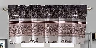 Modern Printed Grommet Window Valance 54 inch Wide X 18 inch Long (Purple. Grey, Black, White, Floral)