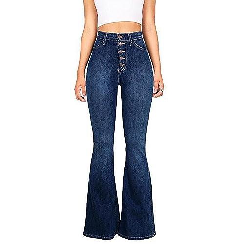 86c9db8b138 Skirt BL Womens Juniors Trendy High Waist Slim Denim Flare Jeans Bell  Bottom Pants Blue Dark
