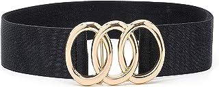 IFENDEI Women Stretchy Wide Belt Vintage, Black Elastic Waist Cinch Belt, Plus Fashion Dress Belts for ladies