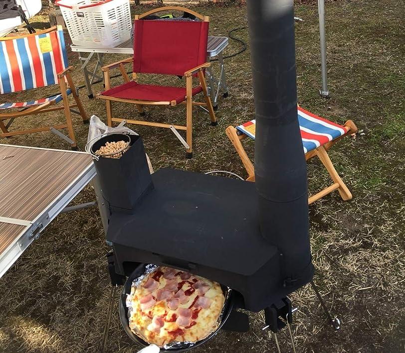 訴える闇保険をかけるキャンプに の 燃焼のプロが開発製作 ピザ窯 付き ストーブ グリル らくださん 無煙防災グッズ 木質ペレット 薪 BBQ ピザ釜